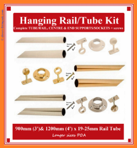 1200mm Wardrobe Hang Rail KITS. BRASS 19mm & 25mm. 1-10pack